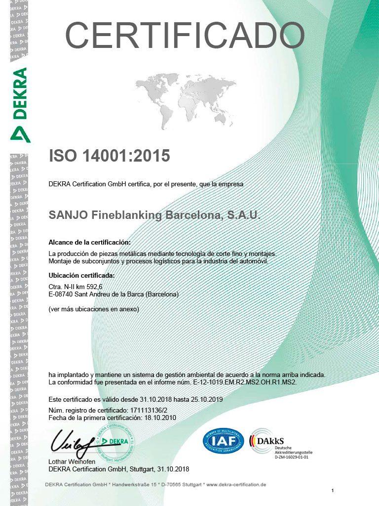 SANJO ISO 14001 Certificado
