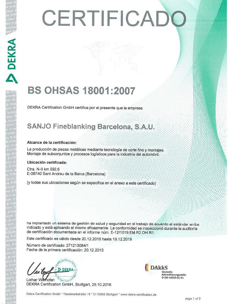SANJO OHSAS 18001 Certificado