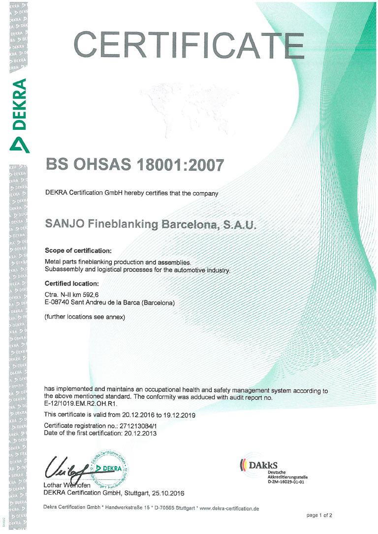 OHSAS 18001 – Security and health