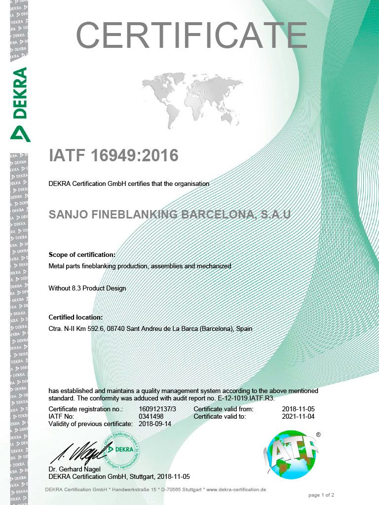 IATF 16949 Sanjogroup